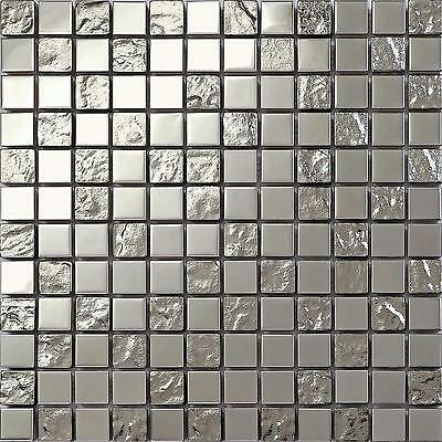 Stainless Steel & Textured Silver Mosaic Tiles Sheet 300x300x8mm (MT0129)