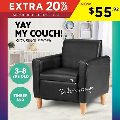 Storage Kids sofa Black Children lounge Arm Couch Chair PU Leather Padded Seat