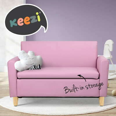 Storage Kids Sofa Pink Children lounge Arm Couch Chair PU Leather Padded Seat