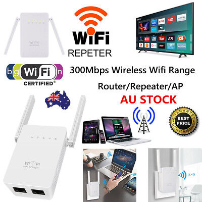 Dual Antenna 300Mbps Wifi Repeater Wireless Range Extender 802.11N Booster AU