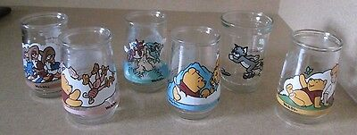 6 ~ Welch's Jelly Glasses *3 Disney & 3 Winnie the Pooh