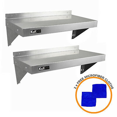 Stainless Steel Shelves 2 x Commercial Catering Kitchen Wall Shelf 900 - 1940mm