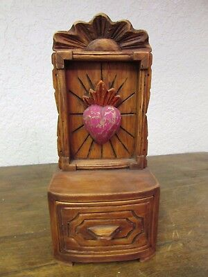 Hand Carved Colorful Sacred Heart Nicho Jewelry Box  #2-Mexican Folk Art-NEW