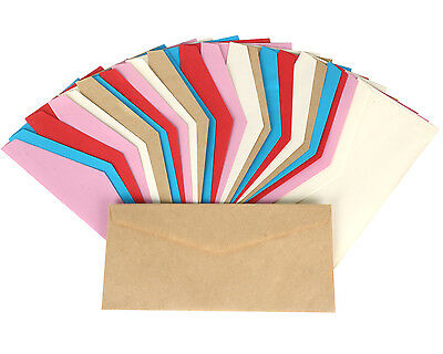 TRIXES Pack of 25 Coloured Envelopes Arts Crafts Pink Red Blue Gold and Yellow