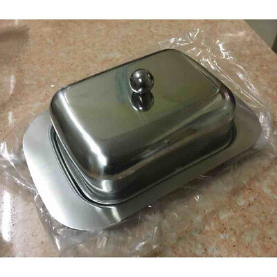 Stainless Steel Butter Dish With Lid Tray Holder Serving Storage