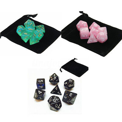7 Pcs Set Polyhedral Dice with Bag DnD RPG 4 6 8 10 12 20 and a percentage (%)