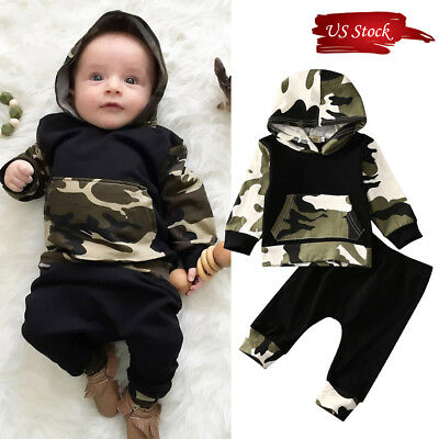2PCS Toddler Newborn Baby Boy Camouflage Hooded Tops +Pants Outfits Clothes Set