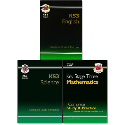KS3 English, Maths, Science Complete Revision and Practice 3 Books Set Pack NEW