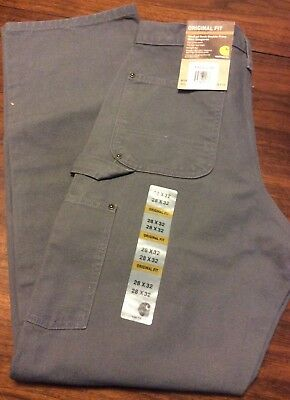 Carhartt Washed Duck Double Front Work Dungaree Pants 28 X 32 Gravel New