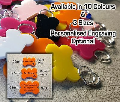 BONE SHAPE Pet ID Tag, DOG / CAT TAGS, VARIOUS SIZE & COLOURS, ENGRAVING OPTIONS