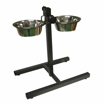 Stainless Adjustable Double Diner Steel Bowls Food Feeding Pet Dog Bowls Stand