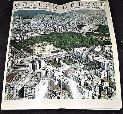 Vintage 1960s Greece Athens Attica The Saronic Islands Travel Brochure Booklet
