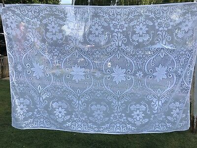 Vintage 1980's Era White Polyester Floral Lace Tablecloth