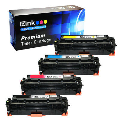 4 Pack 128A B C M Y Toner Cartridges for HP Color LaserJet CP1525nw Printer