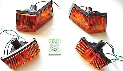 Vespa Px,lml,t5,star,4T. Complete Indicator Set Of 4. Amber Lens & Fitted Bulbs
