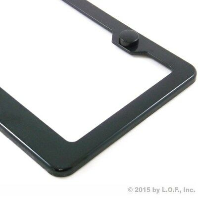 License Plate Frame Black Plain Blank ABS Tag Holder Cover Screw Caps Car Auto