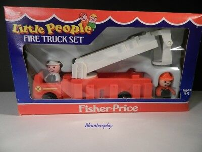 Vintage Fisher Price Little People Fire Truck Set  #0346 NEW in Original Box