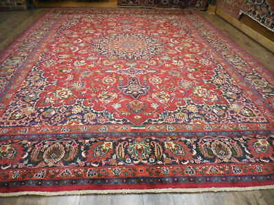 Ca1940 VG DY ANTIQUE PERSIAN SIGNED CLASSIC MASHAD 10x13 ESTATE SALE RUG