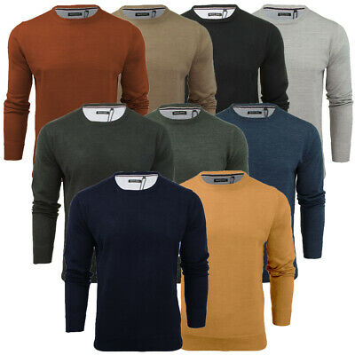 Mens Light Knitted Crew Neck Jumper Sweater Jersey Long Sleeve Brave Soul Parsec