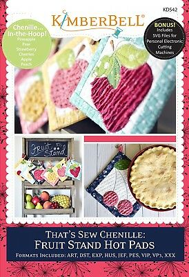 KimberBell That's Sew Chenille: Fruit Stand Hot Pads - Embroidery CD (KD542)