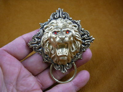 (#E-673) Lion head roaring Eyeglass pin pendant ID badge holder Wild cat love