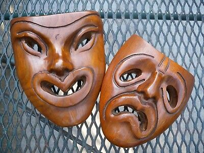 Vintage Comedy Tragedy Happy Sad Wood Theater Masks Wall Decor