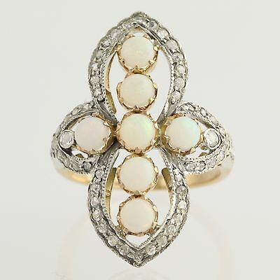 Vintage Opal & Diamant Cocktail Ring- 18K Gold & Sterlingsilber Original 1.35ctw