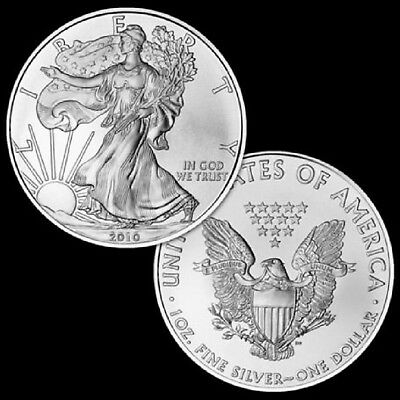 Lot of 2 Silver American Eagle 2016 Coin 1 oz. .999 US $1 Dollar BU Uncirculated