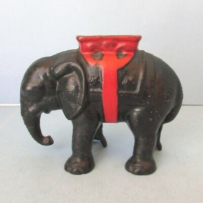 1910 BANK Hubley Cast Iron Elephant Coin Still with Howdah Vintage
