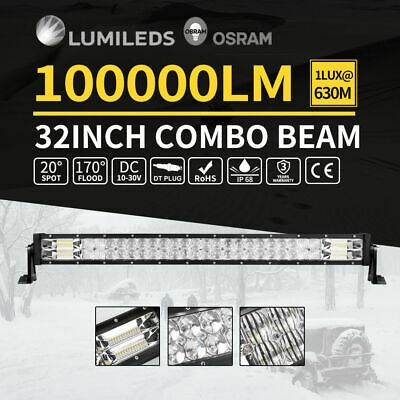 32inch 5D Osram Philips LED Light Bar Spot Flood Offroad Work Driving Lamp 4WD