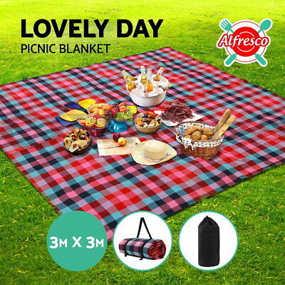 3m x 3m Extra Large Picnic Blanket Outdoor Mat Camping Waterproof Multi Colour