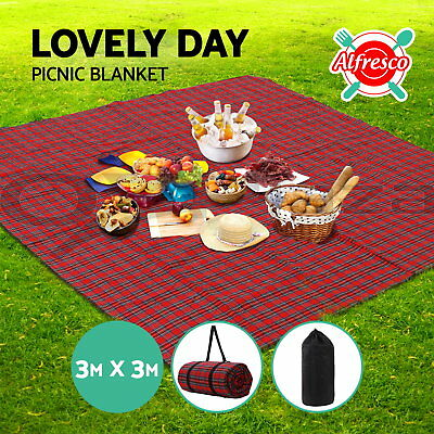 3m x 3m Extra Large Picnic Blanket Outdoor Mat Camping Waterproof Red