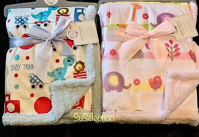 BABY BOY GIRL ANIMAL BLANKET WRAP SUPERIOR QUALITY-PINK & BLUE-75 x 100CM-NEW