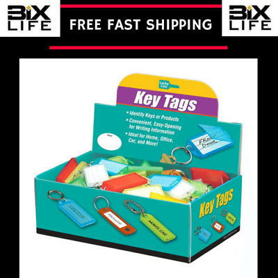 Lucky Line Key Tag with Flap and Split Ring 100 Per Box Assorted Colors (60500)