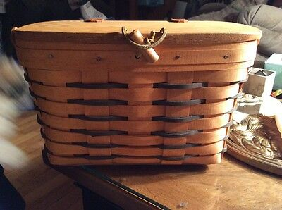Longaberger Small Picnic Basket With Liner 1995 Near Mint