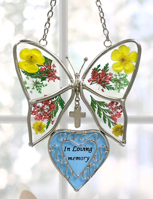 In Loving Memory Butterfly Stained Glass with Flowers Suncatcher Home decor