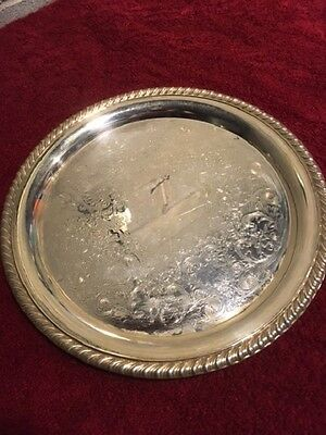 """Vintage WM Rogers Silver Plate Serving Tray #870- 101/4""""Round - Braided edge"""