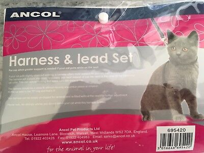 Ancol  Cat Kitten Harness & Lead Set Red With Night Reflective Stars & Moon