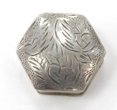 Sterling Silver 925 Vintage Engraved Pillbox  ~14.0g~ #583