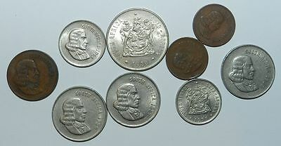 SOUTH AFRICA : LOT OF 9 COINS - 1960's & 70's