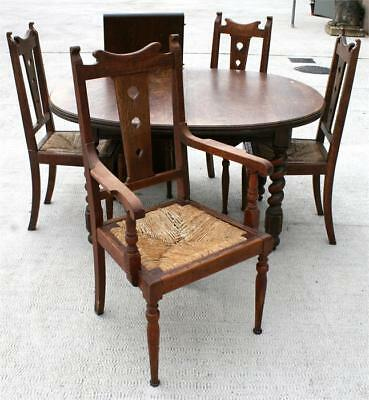 Arts And Crafts Liberty Style Oak Set 4 Chairs Inc Carver Barley Twist Table