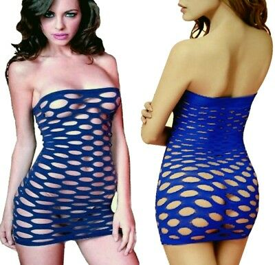Sexy mini jupe lingerie résille taille S-Blue bodystocking dress erotic lingerie