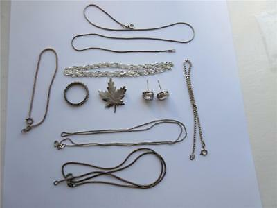 JOB LOT 9 PIECES OF VINTAGE STERLING SILVER JEWELLERY, 24.5g, Brooches, chains!