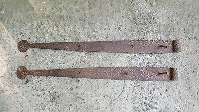 Chadds Ford Pennsylvania 1720's Hand Forged Iron Strap Hinges Barn Door