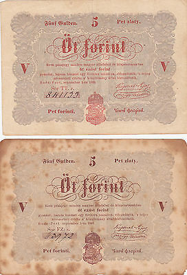 2X5 FORINT REBELL GOVERNMENT ISSUED BANKNOTES FROM HUNGARY 1848!PICK-S116a-b!
