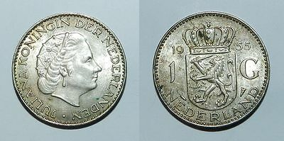 NETHERLANDS : SILVER ONE GULDEN 1955 - High Grade