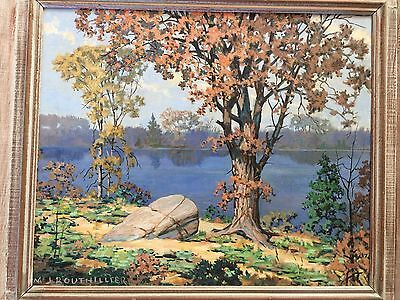 Original Oil Board Landscape Painting signed Bouthillier Autumn North Beach 1930