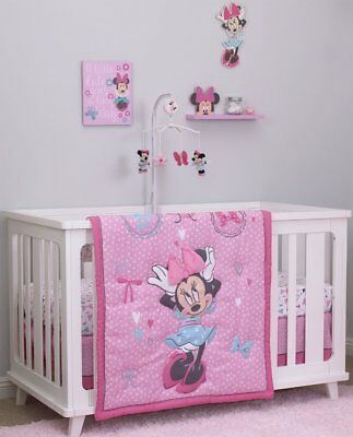 4Pc Disney Baby Girls Minnie Mouse All about the Bows Crib Bedding Comforter Set