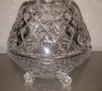 1.5kg Genuine 24% Lead Cut Crystal Tripod Rose - candle Bowl from Estate