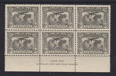 1931 6d AIRMAIL, Imprint block of 6, Mint Never Hinged